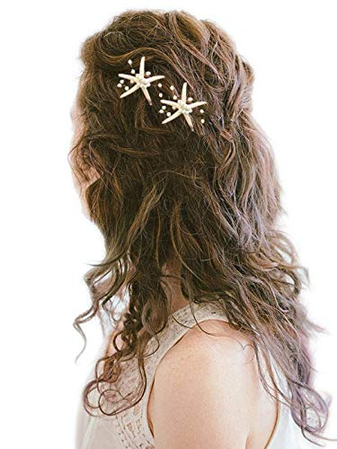 - Barogirl Wedding Starfish Hair Pins Decorative Bridal Hairpin Set Beaded Hair Accessories Beach Wedding Hair Jewelry for Women and Girls 2 PCS (Silver)