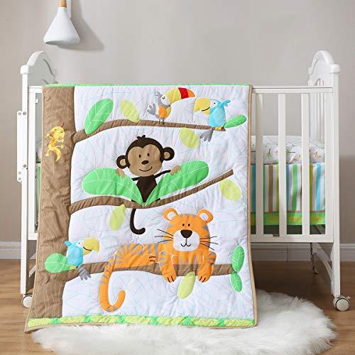 Spring Baby Crib Bedding Set 3 Piece, 100% Soft Organic Natural Cotton, Portable Standard Crib Bedding Set, Woodland Tiger Monkey Crib Bedding Set, Neutral Crib Set for Boy Girl, White/Green/Tan
