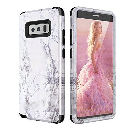 Galaxy Note 8 Case, Arukas [Marble Design] Slim 3 In 1 Design Anti-Scratch Shockproof Bumper Matte Hard PC Soft Rubber Silicone Protective Case Cover for Samsung Galaxy Note 8 (black) ()