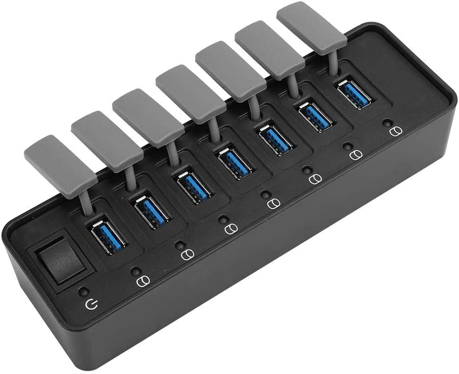 Wendry Powered USB Hub 3.0 US 7-Port USB 3.0 HUB with Individual On//Off Switches,12V 3A Output USB Splitter Computer Accessories