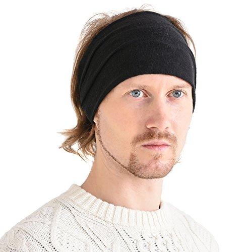 Tied Scarf Fashion (CHARM Womens Linen Head Band Mens Bandana Natural Elastic Hairband Sports Fashion Wrap Black)