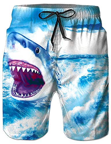 Loveternal Male Fish Crazy Swim Trunks Casual Quick Dry Beach Shorts for Boys Surfing Boardshorts with Pockets Blue Ocean Bathing Suit Man Shark Board Shorts ()