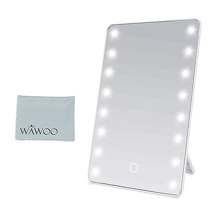 Specchi Professionali Per Trucco.Wawoo Specchio Per Il Trucco Con Illuminazione A Led Dimmerabile Con Touch Screen 16 Leds Ultra Alta Definizione Pieghevole Professionale Make Up