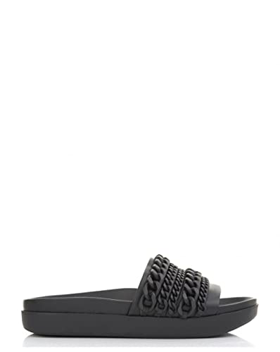 9e684155d Black Womens Kendall Kylie Shiloh Chain Detail Slides - UK 3: Amazon ...