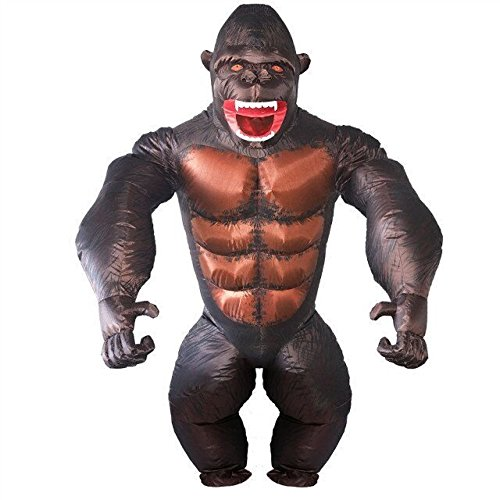 Adult Gorilla Inflatable Costume - Halloween Inflatable Costume Orangutan Gibbon Chimp Monkey Fancy Dress Blow up Suit (Gorilla)