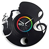 Jazz clock Vintage Music Clock Saxophonist Clock Vinyl clock Wall clock with pendulum Black color Vinyluse original Made In Italy