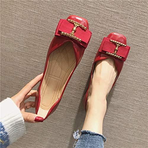 Bas Carré Chaussures Femmes Bout Femmes Confortables Pour Rouges Mocassins IfqEz