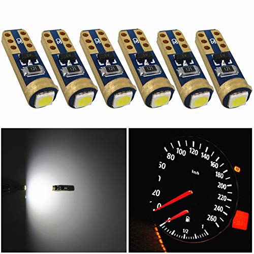 - WLJH 6pcs Supper Bright 3030 SMD T5 LED Bulbs 74 79 86 2721 Car Instrument Panel Speedo Gauge Cluster Light Lamp Bulbs