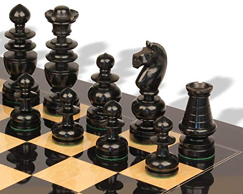 - French Regency Antique Reproduction Chess Set Ebony & Boxwood Pieces with Black & Ash Burl Chess Board
