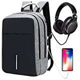 Laptop Backpack Business Travel Backpack for Men & Women, Anti-theft Water Resistant College School Backpack aluminum handle with USB Charging Port & Headphone interface Fits Under 14'' Laptop (Grey)