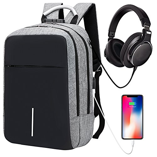 Laptop Backpack Business Travel Backpack for Men & Women, Anti-theft Water Resistant College School Backpack aluminum handle with USB Charging Port & Headphone interface Fits Under 15'' Laptop (Grey) (Case Laptop Aluminum Business Computer)