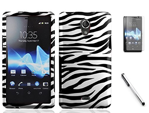 Sony Ericsson Xperia TL LT30at, LF Designer Hard Case Cover, Screen Protector with Stylus Pen Bundle Accessory (Designer Zebra) (Case Sony Ericsson Phone)