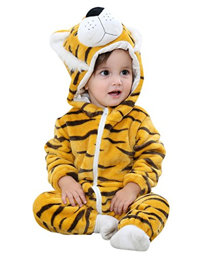 Kidsform Unisex Baby Cartoon Cosplay Animal Hoodie Zip Footless Romper Jumpsuit Outfit Outwear Tiger (Tiger Outfit Kids)