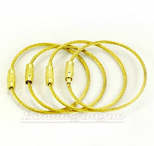 10 Pieces Gold Color Heavy Duty Stainless Cable Keyring EDC Keychain 1.5cm*2mm