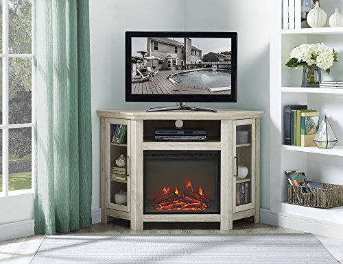 (New 48 Inch Wide Corner Fireplace Television Stand in White Oak Finish)