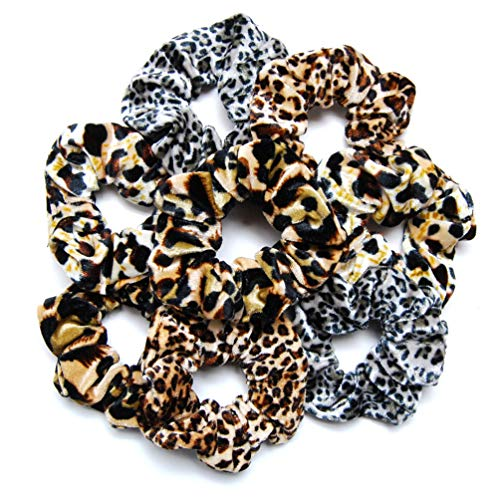 Luxxii 4 Inch Leopard Velvet Scrunchies Ponytail Holder