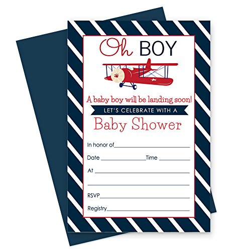 (Airplane Baby Shower Invitations with Navy Blue Envelopes - Set of 15 Cards)