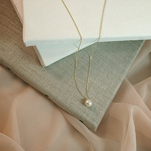 Bridesmaid Gifts- Pretty Single Floating BridalPearl Necklace, Gold Color, Set of 8 by Bride Dazzle (Image #2)