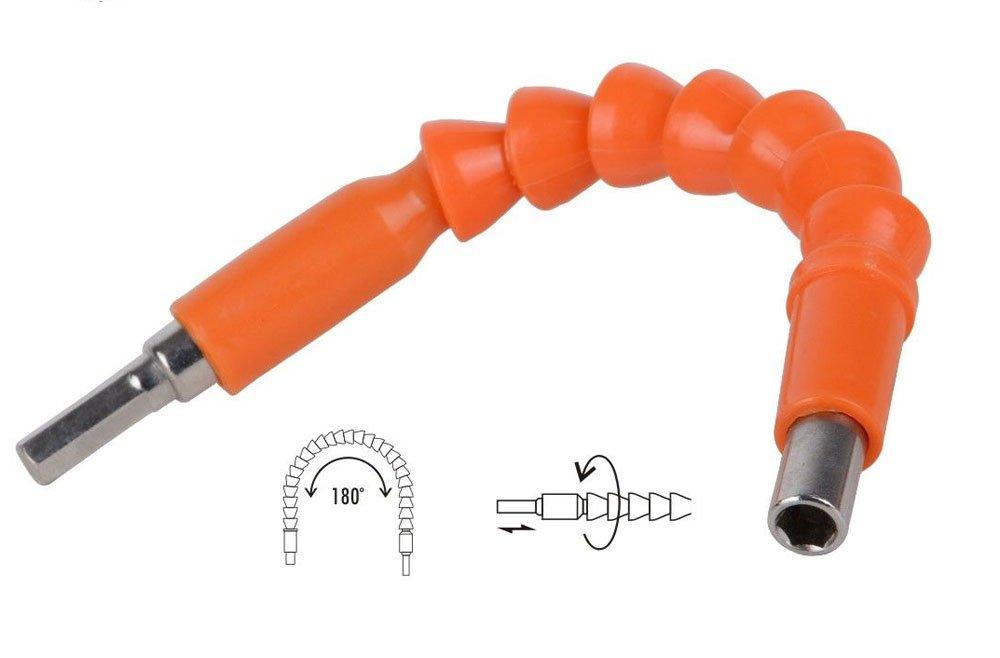 Vetrineinrete® Prolunga albero flessibile pieghevole 180° adattatore portapunta per avvitatore trapano con attacco 1/4' 25 cm 92260 C3