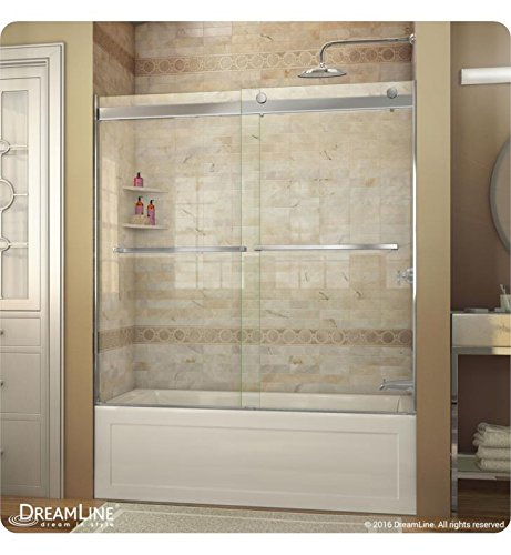 DreamLine Essence 56-60 in. W x 60 in. H Frameless Bypass Tub Door in Brushed Nickel, SHDR-6360600-04