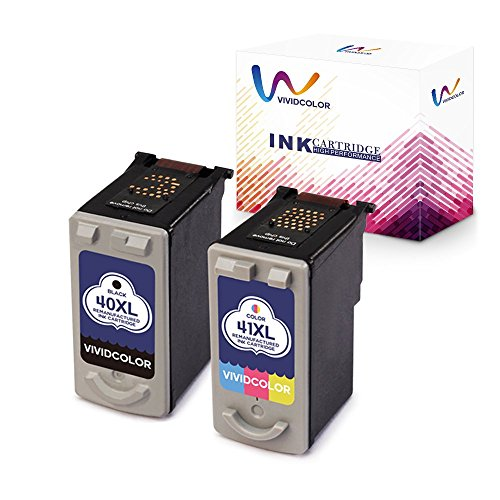 Vividcolor Remanufactured Canon PG-40 XL 40 CL-41 XL 41 Ink Cartridge for Canon PIXMA MP470 MX310 MP210 MP460 iP1600 MP160 iP1800 Printer (1 Black 1 Color)