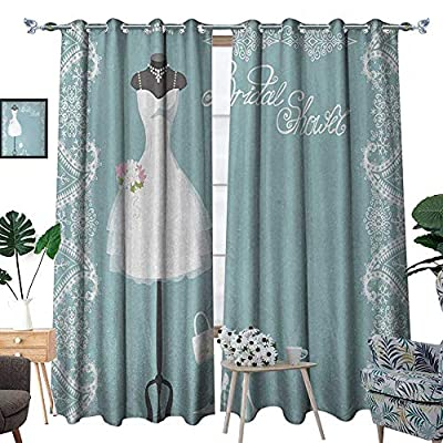 RenteriaDecor Bridal Shower Window Curtain Fabric Vintage French Inspired Bride Dress with Floral Frames Desiign Print Drapes for Living Room W72 x L96 Baby Blue and White