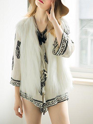 Fourrure Automne Veste Hiver Douche Apparel Blanc Outwear Casual sans Gilet fluffy Manches Fausse V en chaude Manteau Col Femme Simplee xqYCnfnp