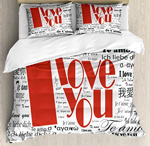 Ambesonne I Love You Duvet Cover Set King Size, Newspaper Stylized International Valentine's Words Contemporary Happy Day, Decorative 3 Piece Bedding Set with 2 Pillow Shams, White Black Red,