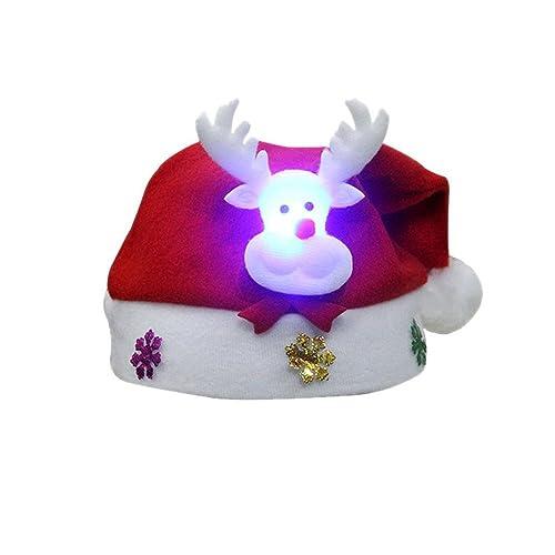 2pc LED Navidad Sombrero Santa Claus Renos Muñeco de Nieve Xmas Regalos Cap Para Adultos y Niños