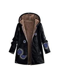 Casual Limsea Womens Coats Vintage Warm Floral Print Hooded Pockets