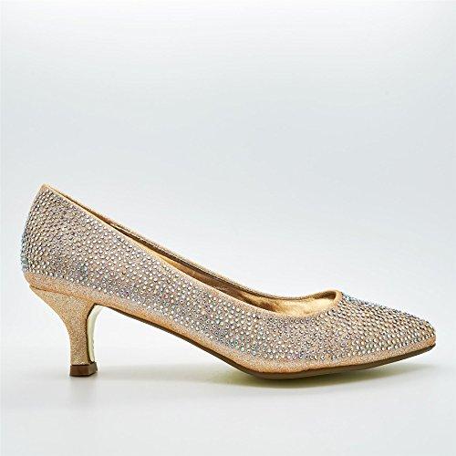 London Footwear ,  Damen Durchgängies Plateau Sandalen mit Keilabsatz champagnerfarben