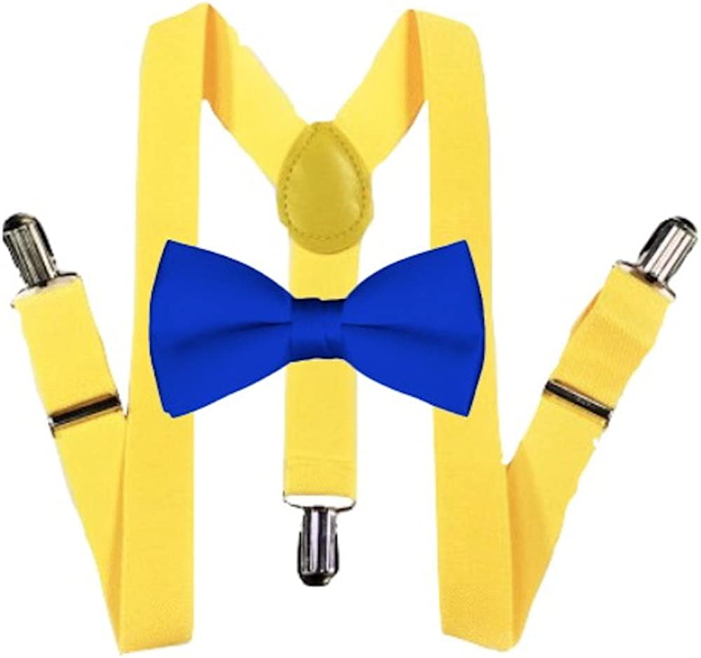 Royal Blue Kids Baby Suspender and Bowtie Combo Set Adjustable Boys Girls Toddlers