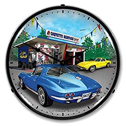 1963 Corvette Garage LED Wall Clock, Retro/Vintage, Lighted, 14 inch