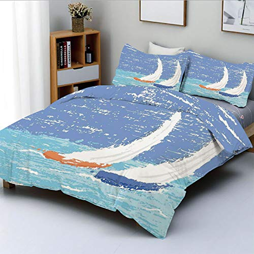 Racing Sailboat - Duplex Print Duvet Cover Set Full Size,Grunge Style Illustration of Two Racing Sailboats in A Windy Ocean Water PrintDecorative 3 Piece Bedding Set with 2 Pillow Sham,Light Blue,Best Gift For Kids & A