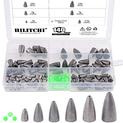 Hilitchi 140 Pcs Bullet Weights Sinker Assortment Kit Lead Fishing Weights Sinkers Assorted Set with Glowing Fishing Beads Worm Weights for Bass Fishing Saltwater (Medium Bass Weight)