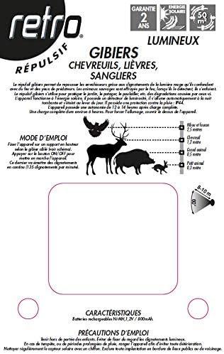 CHEVREUILS ACTO Retro R/ÉPULSIF Lumineux GIBIERS SANGLIERS RUSGI1 LI/ÈVRES