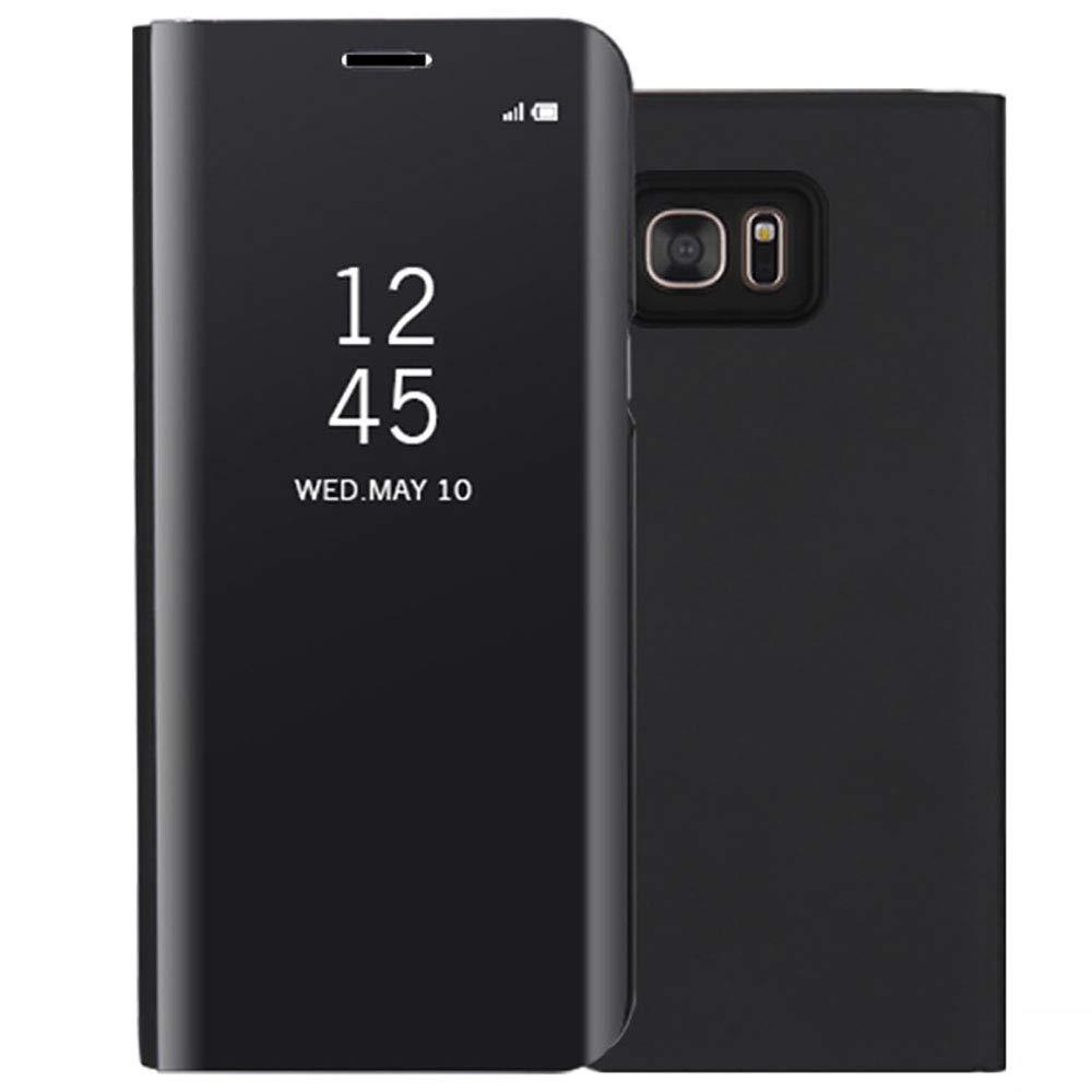 Dfly Galaxy S6 Edge Spiegel Überzug Flip Hülle, Premium Fensteransicht Transluzent Ultra Dünn Hartes Anti-Scratch Stoßfest Vertikal Case Schutzhülle für Samsung Galaxy S6 Edge, Rosé Gold S6Edge-004