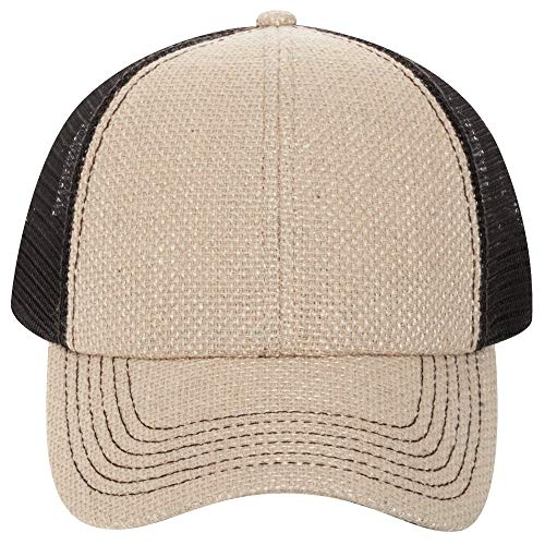 Otto Caps Burlap Two Tone Color Low Profile Pro Style Mesh Back Cap