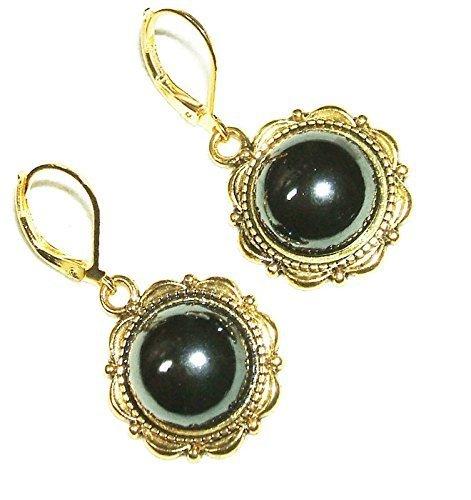 CZECH GLASS HEMATITE EARRINGS Gold Pltd Leverback Dangle Drops (Ring Hematite Dome)