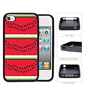 Watermelon Layers With Fruit Seeds Rubber Silicone TPU Cell Phone Case Apple iPhone 4 4s