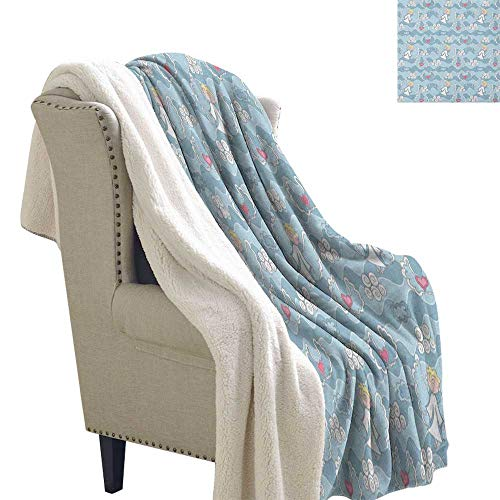 Suchashome Angel Soft Blanket Little Boy Hovering in The Sky Clouds with Hearts Creative Childhood Dreams Berber Fleece Blanket 60x78 Inch Baby Blue White ()