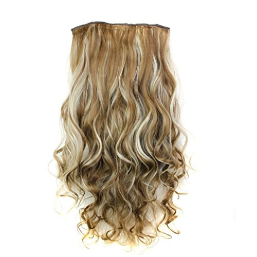 DEESEE(TM) 5Pcs Clip False Hair Synthetic Hair Extension Curly Heat Resistant Hair (Making Your Own 80's Costume)