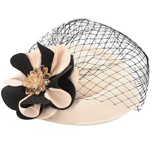 [Coolr Women's Pillbox Hat Cocktail Party Wedding Flower Veil Fascinator Beige] (Cosplay Costume Making)