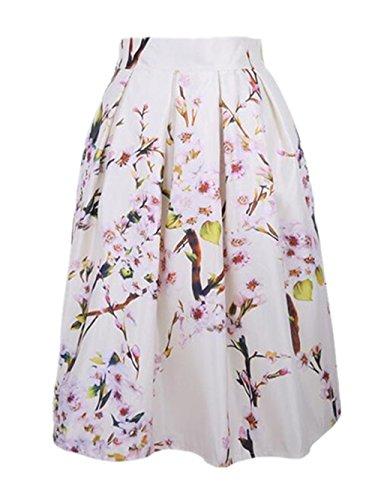 Haililais Femme Jupe Mi Longue Dcontracte Skirt Imprimer Floral Tendance Jupe A-Line Slim Fit Femelle Jupe Plisse Beau Jupe White
