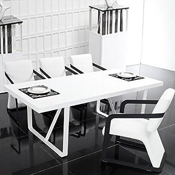 Table à manger design blanche en bois - Castela: Amazon.fr ...