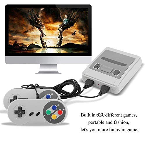 H&ZT Craft Classic Game Consoles, Super Mini Retro Game Consoles Built-in 620TV Video Games with Double Controllers (SNES620) by H&ZT Craft