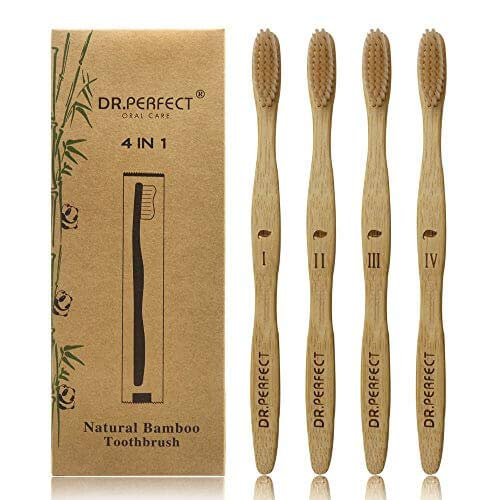 Bristle Best Natural - Dr.Perfect Bamboo Toothbrush with Medium Soft BPA Free Natural Bristles Biodegradable Toothbrush for Teeth Whitening Pack of 4
