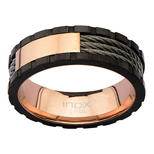 Men's Stainless Steel IP Rose Gold Inner Cables Ring