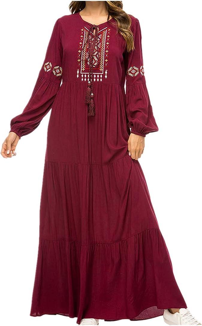 Mujer Musulmán Abaya Robe Kaftan - Dama Manga Larga Swing Vestido Maxi Tamaño Más Elegante Bordado Vestido de Coctail (M-2XL)