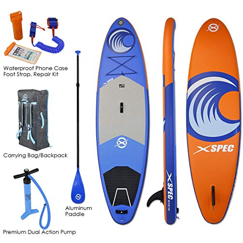 "Xspec Inflatable Stand Up Paddle Board with Premium SUP Accessories & Carry Bag, 10' x 32"" x 10"", Blue/Orange"